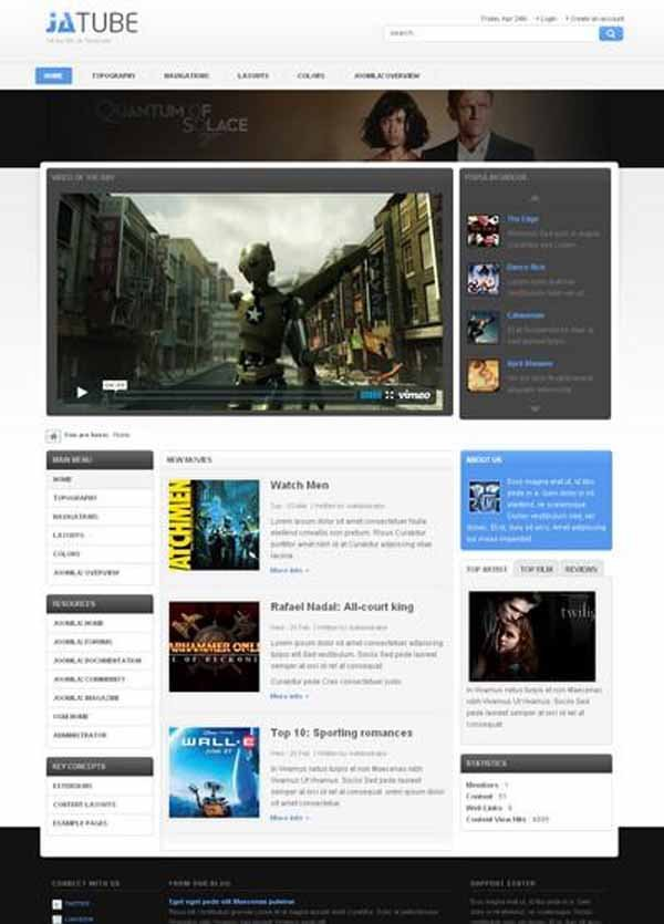 JA Tube Free template for Joomla